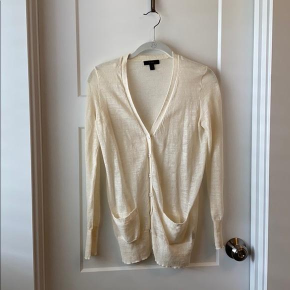 JCrew XXS lightweight cream long cardigan